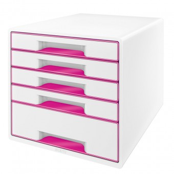 leitz schubladenbox 5214 wow cube 5 schubladen wei pink eoffice24. Black Bedroom Furniture Sets. Home Design Ideas