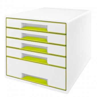 leitz schubladenbox 5214 wow cube 5 schubladen wei gr n eoffice24. Black Bedroom Furniture Sets. Home Design Ideas