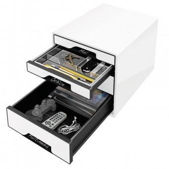 schubladenbox leitz 5252 wow cube 4 schubladen wei eoffice24. Black Bedroom Furniture Sets. Home Design Ideas