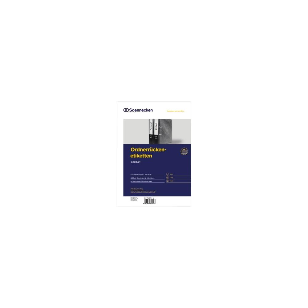 Soennecken 66309 Ordnerruckenetiketten Breit Kurz Weiss 400 Etiketten Eoffice24